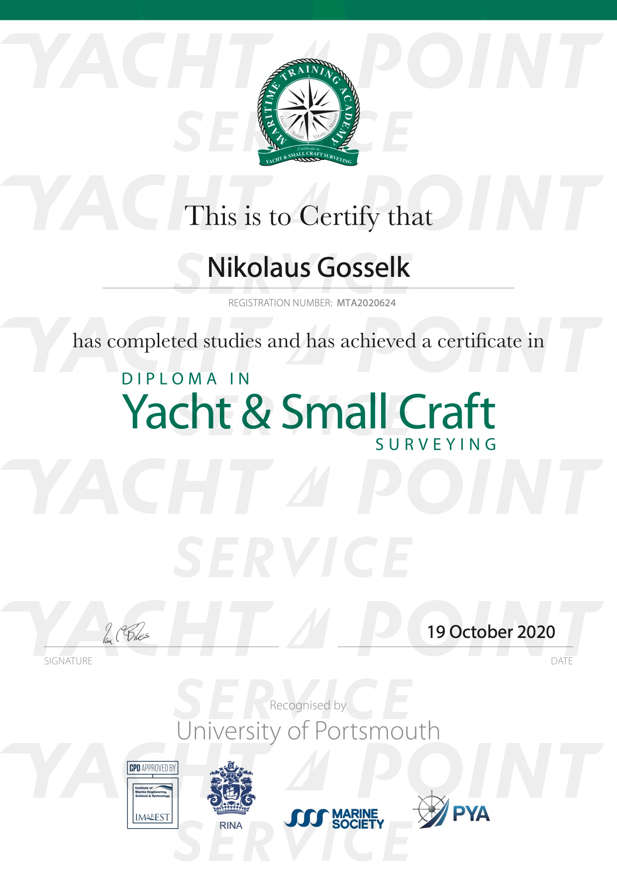 Certificate for Diploma in Yacht & Small Craft Surveying