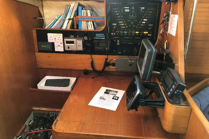 The navigation and control panel area the boat 'Poppy of Orwell'